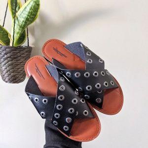 American Eagle Black Grommet Stud Cross Sandals